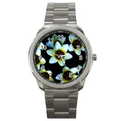 Light Blue Flowers On A Black Background Sport Metal Watches by Costasonlineshop