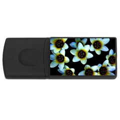 Light Blue Flowers On A Black Background Usb Flash Drive Rectangular (4 Gb)  by Costasonlineshop
