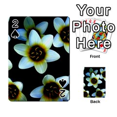 Light Blue Flowers On A Black Background Playing Cards 54 Designs  by Costasonlineshop