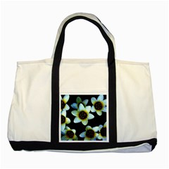 Light Blue Flowers On A Black Background Two Tone Tote Bag  by Costasonlineshop