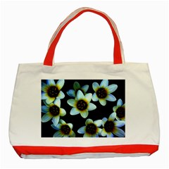 Light Blue Flowers On A Black Background Classic Tote Bag (red)  by Costasonlineshop