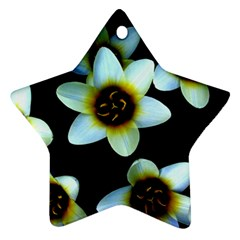 Light Blue Flowers On A Black Background Star Ornament (two Sides)