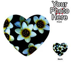 Light Blue Flowers On A Black Background Multi Purpose Cards (heart)  by Costasonlineshop
