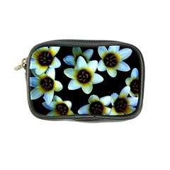 Light Blue Flowers On A Black Background Coin Purse by Costasonlineshop