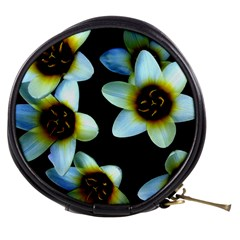 Light Blue Flowers On A Black Background Mini Makeup Bags by Costasonlineshop