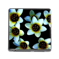 Light Blue Flowers On A Black Background Memory Card Reader (square) by Costasonlineshop