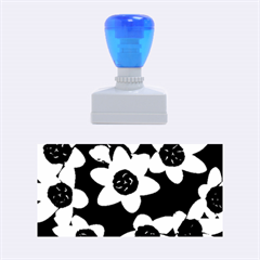 Light Blue Flowers On A Black Background Rubber Stamps (medium)  by Costasonlineshop