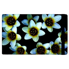 Light Blue Flowers On A Black Background Apple Ipad 3/4 Flip Case