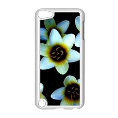 Light Blue Flowers On A Black Background Apple Ipod Touch 5 Case (white) by Costasonlineshop