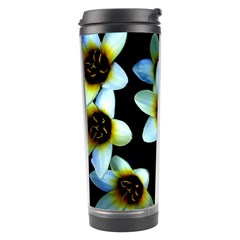 Light Blue Flowers On A Black Background Travel Tumblers by Costasonlineshop