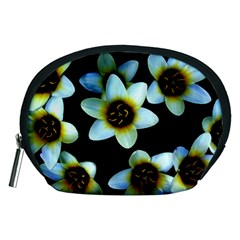 Light Blue Flowers On A Black Background Accessory Pouches (medium)  by Costasonlineshop