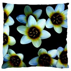 Light Blue Flowers On A Black Background Standard Flano Cushion Cases (two Sides)  by Costasonlineshop
