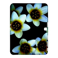 Light Blue Flowers On A Black Background Samsung Galaxy Tab 4 (10 1 ) Hardshell Case  by Costasonlineshop