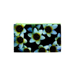 Light Blue Flowers On A Black Background Cosmetic Bag (xs) by Costasonlineshop