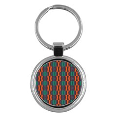Green Orange Shapes Pattern 			key Chain (round) by LalyLauraFLM