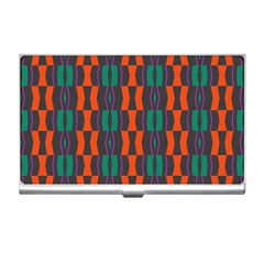 Green Orange Shapes Pattern 			business Card Holder by LalyLauraFLM