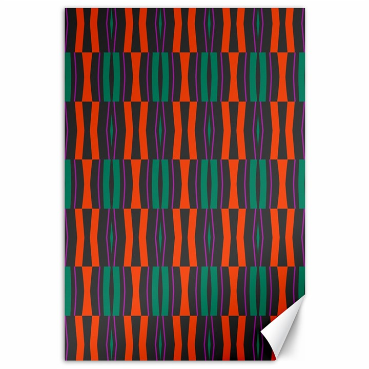 Green orange shapes pattern 			Canvas 12  x 18