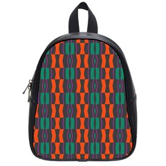 Green Orange Shapes Pattern 			school Bag (small) by LalyLauraFLM