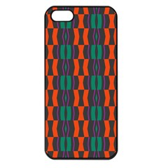 Green Orange Shapes Pattern 			apple Iphone 5 Seamless Case (black) by LalyLauraFLM
