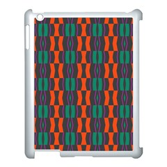 Green Orange Shapes Pattern 			apple Ipad 3/4 Case (white) by LalyLauraFLM