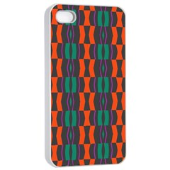 Green Orange Shapes Pattern 			apple Iphone 4/4s Seamless Case (white) by LalyLauraFLM