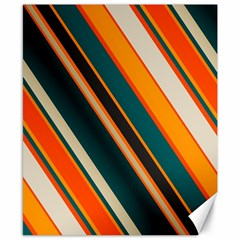 Diagonal Stripes In Retro Colors 			canvas 8  X 10  by LalyLauraFLM