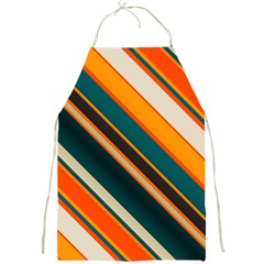 Diagonal Stripes In Retro Colors 			full Print Apron by LalyLauraFLM