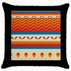 Tribal Shapes  			throw Pillow Case (black) by LalyLauraFLM