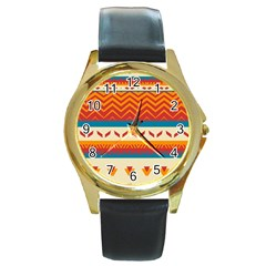 Tribal Shapes  			round Gold Metal Watch by LalyLauraFLM