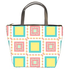 Pastel Squares Pattern 	bucket Bag by LalyLauraFLM