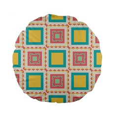 Pastel Squares Pattern 	standard 15  Premium Flano Round Cushion by LalyLauraFLM