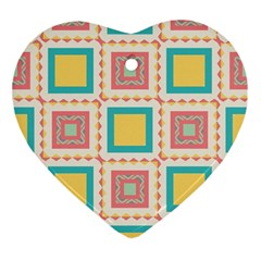 Pastel Squares Pattern 			ornament (heart) by LalyLauraFLM