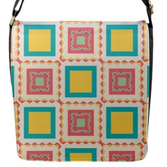Pastel Squares Pattern 			flap Closure Messenger Bag (s) by LalyLauraFLM