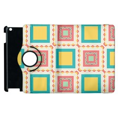 Pastel Squares Pattern 			apple Ipad 2 Flip 360 Case by LalyLauraFLM