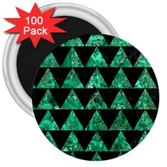 Triangle2 Black Marble & Green Marble 3  Magnet (100 Pack) by trendistuff