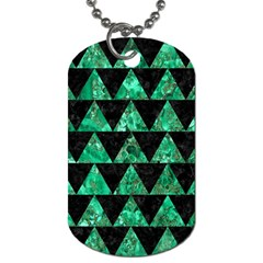 Triangle2 Black Marble & Green Marble Dog Tag (two Sides) by trendistuff