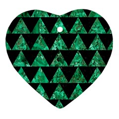 Triangle2 Black Marble & Green Marble Heart Ornament (two Sides) by trendistuff