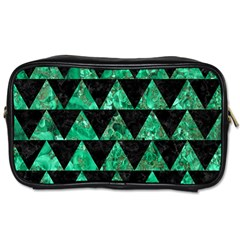 Triangle2 Black Marble & Green Marble Toiletries Bag (two Sides) by trendistuff