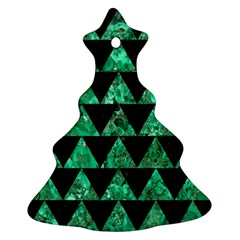 Triangle2 Black Marble & Green Marble Ornament (christmas Tree)  by trendistuff