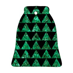 Triangle2 Black Marble & Green Marble Bell Ornament (two Sides) by trendistuff