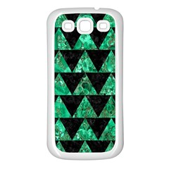 Triangle2 Black Marble & Green Marble Samsung Galaxy S3 Back Case (white) by trendistuff