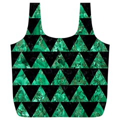 Triangle2 Black Marble & Green Marble Full Print Recycle Bag (xl) by trendistuff