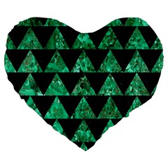 Triangle2 Black Marble & Green Marble Large 19  Premium Flano Heart Shape Cushion by trendistuff