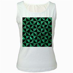 Triangle1 Black Marble & Green Marble Women s White Tank Top by trendistuff