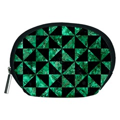 Triangle1 Black Marble & Green Marble Accessory Pouch (medium) by trendistuff