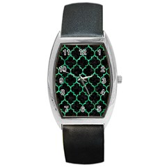 Tile1 Black Marble & Green Marble (r) Barrel Style Metal Watch by trendistuff