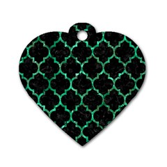 Tile1 Black Marble & Green Marble (r) Dog Tag Heart (two Sides) by trendistuff