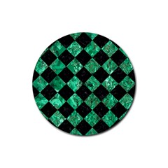 Square2 Black Marble & Green Marble Rubber Coaster (round) by trendistuff