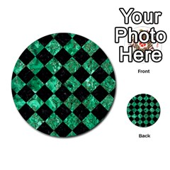Square2 Black Marble & Green Marble Multi Purpose Cards (round) by trendistuff