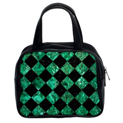 Square2 Black Marble & Green Marble Classic Handbag (two Sides) by trendistuff